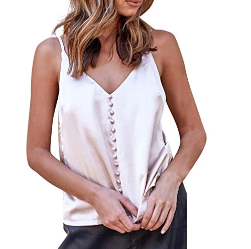 Besde Women Sleeveless Tank for Women Sexy Satin V-Neck Backless Button Top (M, Pink) Button Cami