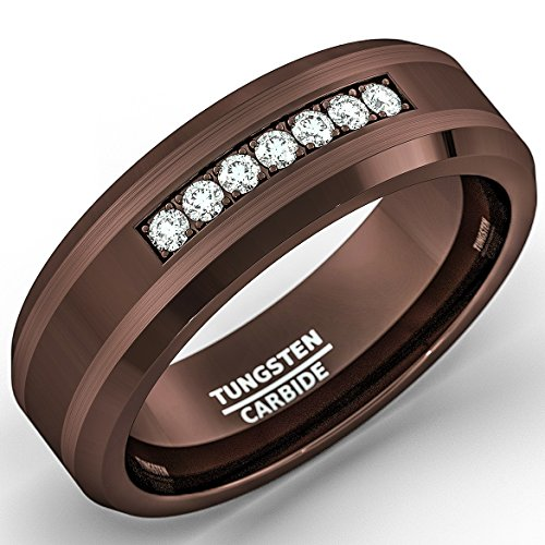8mm Brown Tungsten Carbide Ring with Brilliant Zircon Mens Wedding Band Comfort Fit (12.5)