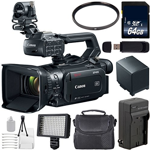 Canon XF405 Camcorder 2212C002 + 64GB Memory Card + BP-820 Replacement Lithium Ion Battery + 58mm UV Filter + Carrying Case Bundle