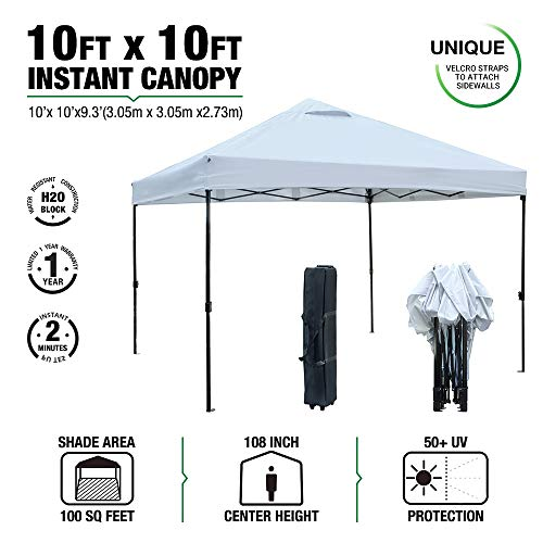 kdgarden 10 ft. x 10 ft. Easy Pop Up Canopy Tent Portable Folding Canopy Outdoor Commercial Instant Shelter with Wheeled Carry Bag, White