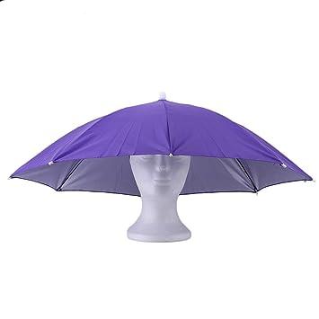 Deportes al Aire Libre portátil 69 cm Paraguas Sombrero Cap Plegable Mujeres Hombres Paraguas Pesca Senderismo