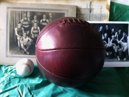 Dark Brown Laced Leather Basketball (1890-1930) by Past Time Sports