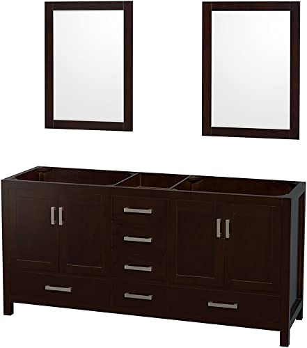 Wyndham Collection Sheffield 72 inch Double Bathroom Vanity in Espresso, No Countertop, No Sinks, and 24 inch Mirrors
