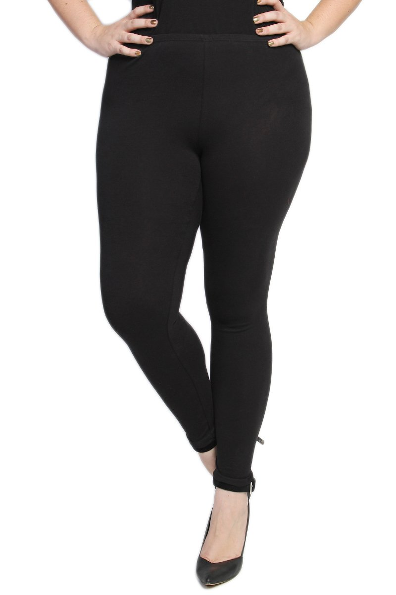 TheMogan Women's Essential Plain Cotton Stretch Leggings Black-2XL