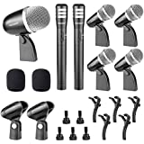 Neewer® NW-7A Wired Microphone Kit for Drum and Other Musical Instruments, includes: (1)Big Drum Microphone+(4)Small Drum Microphone+(2)Condenser Microphone with Standard Mounting Accessories