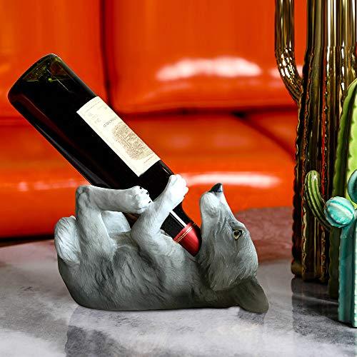 ARAIDECOR Playful Wolf Wine Rack Wine Holder Sculpture Home Decor or Restaurant Setting Statue