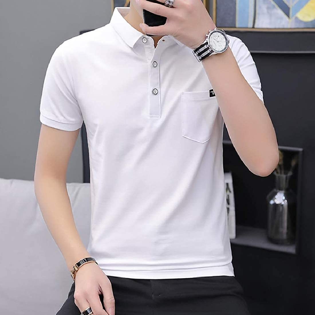 Abetteric Men Top Solid Polo Shirt Pockets Short Sleve Business Tunic Shirt