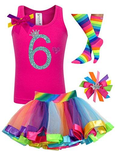 Bubblegum Divas Big Girls' 6th Birthday Rainbow Tutu Outfit 5-6 -