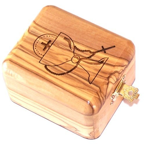 - Olive Wood Catholic First Communion Rosary Box by Bethlehem Gifts TM
