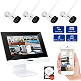 Wireless Home Security Camera System, 4 in 1 HD NVR with 10 Monitor and WiFi Router – 4x 1080P Camera's, Motion Detecting for Indoor and Outdoor Use, Surveillance Kit with 500G Hard Drive