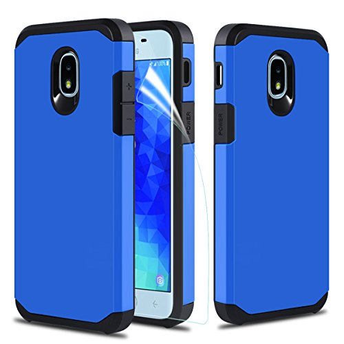 Samsung Galaxy J7 Refine Case,Samsung Galaxy J7 2018 Case,Samsung Galaxy J7 TOP/J7V J7 V 2nd Gen/Galaxy J7 Star Case Screen Protector Dual Layer Armor Hybrid Hard Heavy Duty Protective Case,Blue