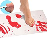 Kyпить Bloody Bath Mat Sheet – Invisible Color Changing Sheet Turns Red When Wet – Hides on Bathroom Floors – Bloody Footprints That Disappear in Minutes – Red/White - Regular Size 16x39in (42x100cm) на Amazon.com