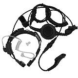 AOER® Military Grade Tactical Throat Mic Headset/earpiece with BIG Finger PTT for Motorola Radios XPR6550 6500 XIR P8268