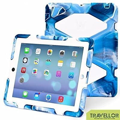 Thinking Summer Newest Ipad 2 3 4 Case Winpartner Travellor A41 Non Toxic Eva Case Super 3d Protect Military-duty Case with Stand Holder Shell Cover Case Rainproof Sandproof Dirtproof Shockproof for Apple New Ipad,ipad 4 Ipad 3 Ipad 2 (camo blue-white)