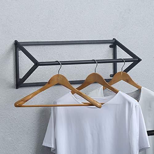 MBQQ Modern Black Metal Clothing Racks Wall Mounted,Bathroom & Bedroom Hanging Towel Bar/Clothing Rod Rack,Hanging on Bathroom,Bedroom,Balcony,Laundry ()