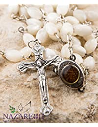 Mother of Pearl Catholic Rosary Jerusalem Holy Soil Medal & Cross From Holy Land - Nazareth Store