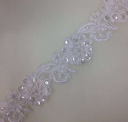 Bead and sequined lace trim, beading cord lace trim, bridal lace trim selling per yard - Lace Trim Yard