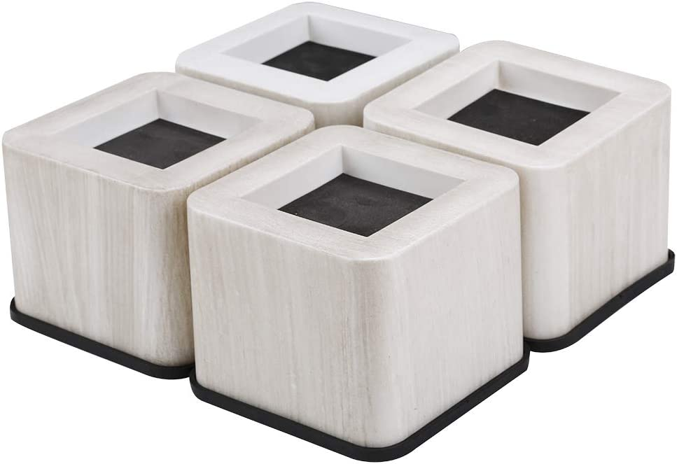 UPCHIC Bed and Furniture Square Risers - 3 INCH Rise Size - Wont Crack & Scratch Floors - Heavy Duty Rubber Bottom - Great for Wood and Carpet Surface (Black, 4) (Wood Grain)