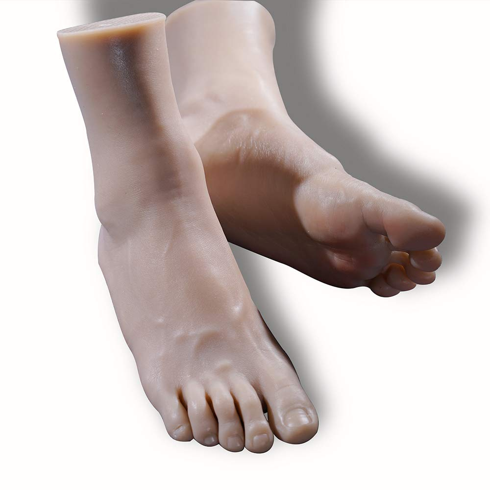 Silicone Foot Mannequin Life-Size Male Leg Display Model for Sketch Nail Art Practice Jewelry Sandal Shoe Sock Fetish (A Pair)