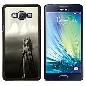 Rueda Rústico Negro blanco del cielo- Metal de aluminio y de plástico duro Caja del teléfono - Negro - Samsung Galaxy A7 / SM-A700