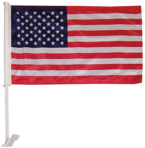 In the Breeze U.S. Flag Car Flag - Double Sided - Hooks onto Car Window (Flag Hook Banner)