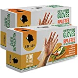 1000 BPA Free Disposable Poly PE Gloves Large, Food Grade, 2 Pack of 500