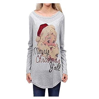 bd8fb682f161 Kulywon Ugly Christmas Sweater Women Girls Fun Long Knit Jumper Red Sweater  at Amazon Women s Clothing store