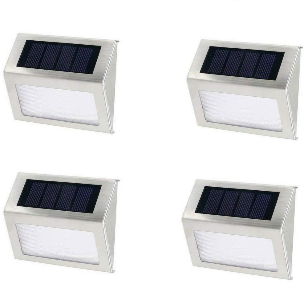 Solar Aluminum Alloy Light 2 LED Waterproof for Step, Garden, Yard, Deck - White Light - 4 Pack