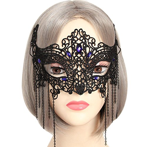 Halloween Half Face Makeup Ball Lace Mask Cosplay (black-blue) - Halloween Half Face Makeup