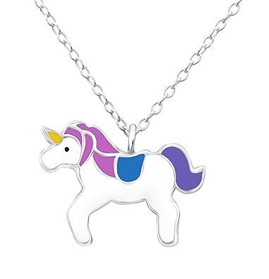 Pink Unicorn Necklace - Sterling Silver - Adjustable (36-39cm) JSV87nf