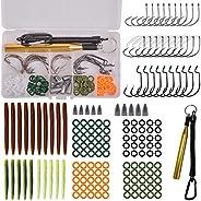 161pcs Fishing Wacky Tool Kits Worm Wacky Rig O-Rings Senko Baits Weedless Worm Hooks Fishing Bullet Sinkers W