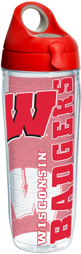 Tervis 1216900 Wisconsin Badgers College Pride Tumbler with Wrap and Red with Gray Lid 24oz Water Bottle, Clear