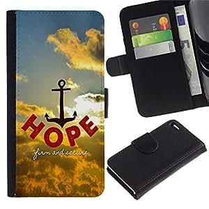 All Phone Most Case / Oferta Especial Cáscara Funda de cuero Monedero Cubierta de proteccion Caso / Wallet Case for Apple Iphone 4 / 4S // BIBLE Hope - Firm And Secure