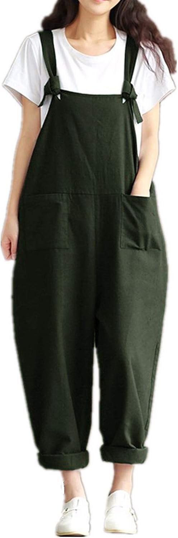 Style Dome Femme Combinaisons de Playsuit Coton /Ét/é Pantalon Irr/éguliers Sarouel Salopette Jumpsuit Casual Large Grande Taille