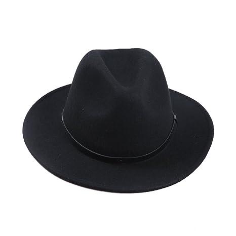 Sedancasesa Men s Crushable Wool Felt Outback Hat Wide Brim Fedora Hats  Black c2cc82c9df
