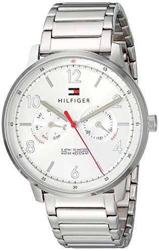 Tommy Hilfiger Men's Sophisticated Sport Quartz Watch with Stainless-Steel Strap, Silver, 20 (Model: 1791355