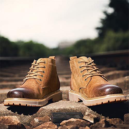diseño EU Marrón para 39 Color de Cuero Boots Zapatos Jusheng de tamaño Genuino clásico Marrón Hombre Martin aw4xSxqZI