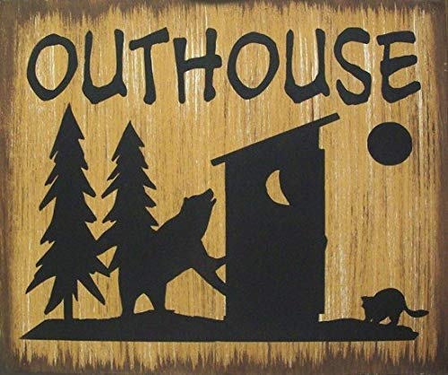 (Iliogine Wooden Sign for Home Decor Outhouse Bear Moose Or Deer Cabin Lodge Hunting Primitive Rustic Country Craft for Bedroom Kithchen Gardern Desk)