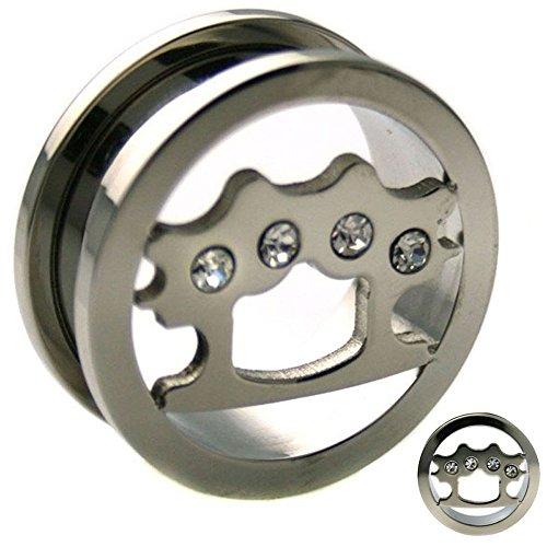 Piercing Deals Brass Knuckle Design with CZ Ear Tunnel Plugs Screw On Surgical Steel GA19S (00g - 10mm) (Plug Design Ear)