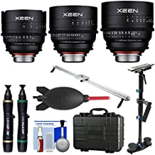 Rokinon Xeen 24mm, 50mm, 85mm T/1.5 Pro Cine Lens Bundle (for Video DSLR Cinema Canon EF Cameras) with Waterproof Hard Case + Slider + Stabilizer Kit