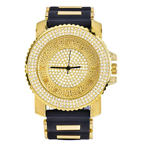 Gold Iced Out Watch - Men Techno Pave Hip Hop Iced Out Bling Diamond Rapper's Gold Silicone Watches 7840 GD