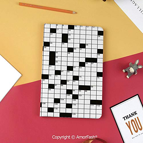 Case for Samsung Tab S3 9.7 SM-T820 SM-T825 Tablet Case Protective Cover Crystal Case,Word Search Puzzle,Classical Crossword Puzzle with Black and White Boxes and Numbers Decorative,Black and White