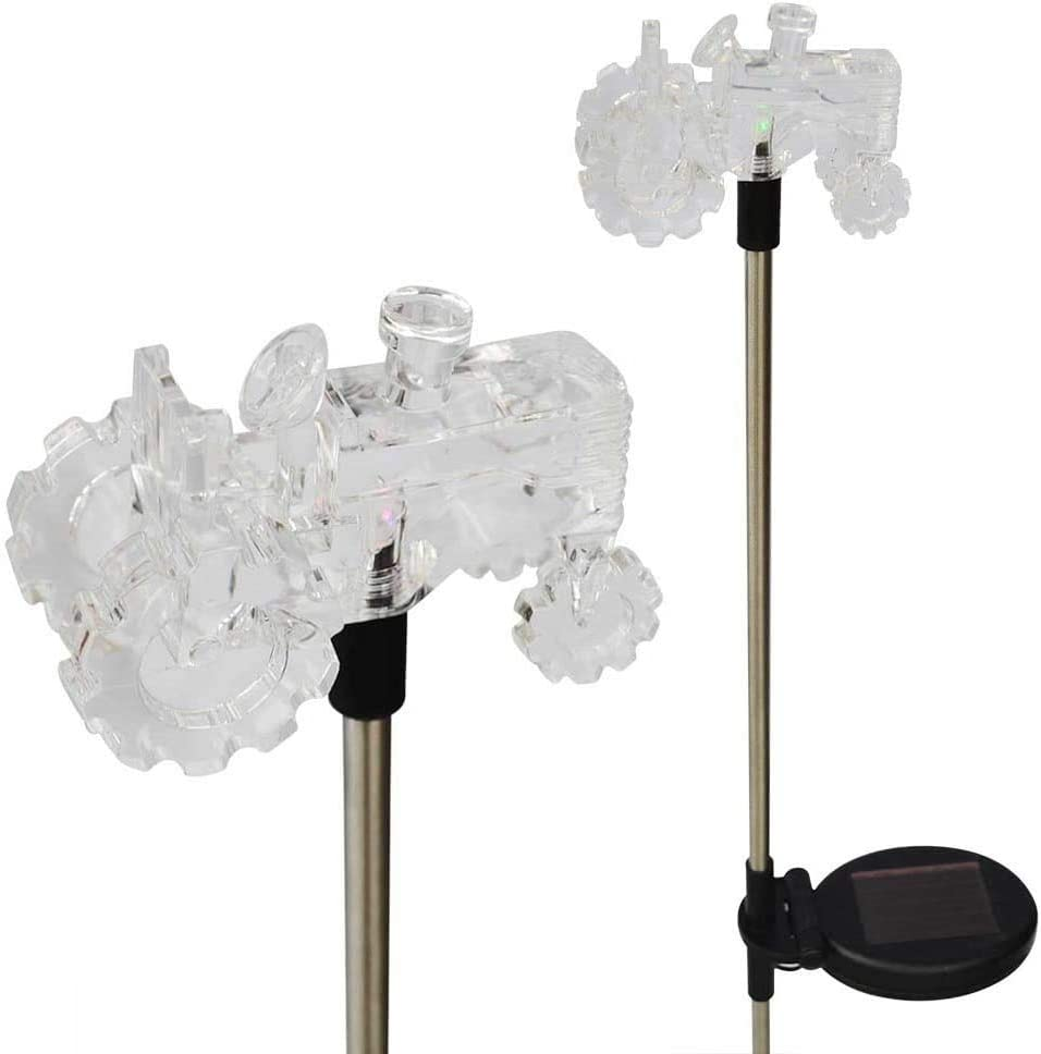 RELIGHTABLE Solar Powered Garden Stake LED Light, Set of 2 (Tractor)