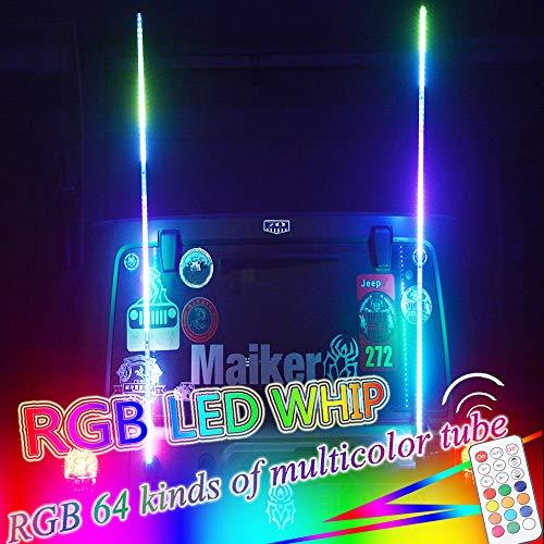 OMUOFFROAD 6FT Lighted Whip LED Antenna Dream Wrapped Dancing Whips For Polaris RZR ATV Antenna Whip UTV Quad Sand Dune Buggy Flag Poles For Trucks w/Remote Control (One Whip)