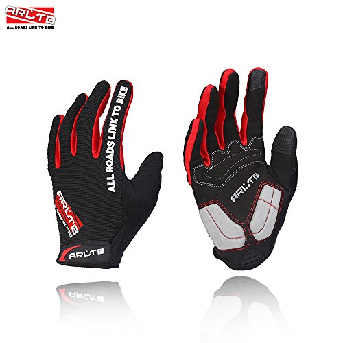 Arltb 3 Sizes Bike Gloves 3 Colors Bicycle Cycling Biking Gloves Mitts Full Finger Pad Breathable Lightweight For Bike Riding Mountain Bike Motorcycle Free Cycle BMX Lifting Fitness Climbing