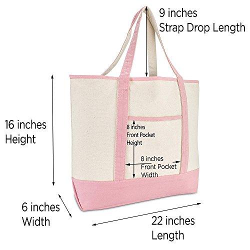 DALIX Women's Cotton Canvas Tote Bag Large Shoulder Bags Pink Monogram G by DALIX (Image #4)