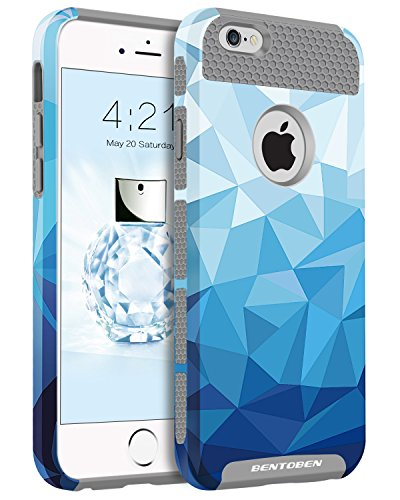 Colorful Protective Case (iPhone 6S Plus Case, iPhone 6 Plus Case, BENTOBEN Dual Layer Slim Hybrid Hard PC Soft TPU Stylish Glamour Colorful Shockproof Protective Case for iPhone 6 Plus / iPhone 6S Plus (5.5 Inch), Blue/Gray)