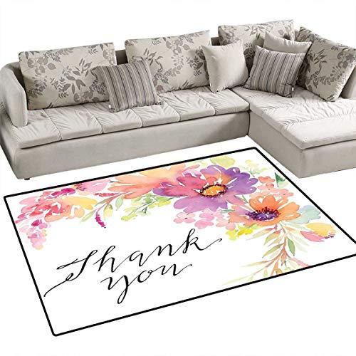 Mothers Day Floor Mat for Kids Cornflowers Peonies Romance Artistic Watercolor Bouquet Wedding Wreath Print Bath Mat Non Slip 48