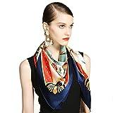 Premium soft multicolor sheer infinity scarf,Poncho Wrap Shawl [silk] Bandana [silk] Gift-A 106x106cm(42x42inch)