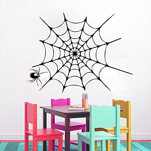 Vinyl Decal Quote Art Wall Sticker Inspirational Quotes Happy Halloween Spider in Web Halloween Living Room Kids Playroom -